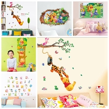winnie Pooh Tigger Animal Cartoon Vinyl Wall stickers kid rooms Home decor DIY Wallpaper Art Decals 3D Design House Decoration(China)