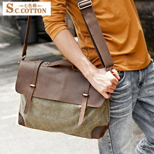 Men's Retro Cotton Casual Cowhide Leather Massege Trim Book Messenger Bag Shoulder Bag Camera Canvas Tote Bag(China)