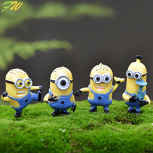 (4pcs/lot) Minion miniature figurines toys cute lovely Model Kids Toys 3-5cm PVC japanese anime children figure world 160343