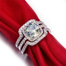 Vintage 2 Carat Halo Style Cushion Cut Diamond Engagement Ring Sterling Silver Jewelry For Bridal(China)