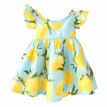 Australia Style 2017 Summer New Girl Dress Lemon Print Flare Sleeve Backless Holiday Beach Dress Children Clothing H0114(China)
