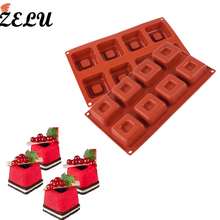 ZELU 1PCS Silicone 8 Cavity Candle Square Shape Cake Mould for Baking Dessert Ice-Creams Mousse Mould Cakes Decorating Tools