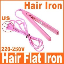 Mini Straightening Irons Pink Electronic Hair Flat Iron Straightener Straightening(China)