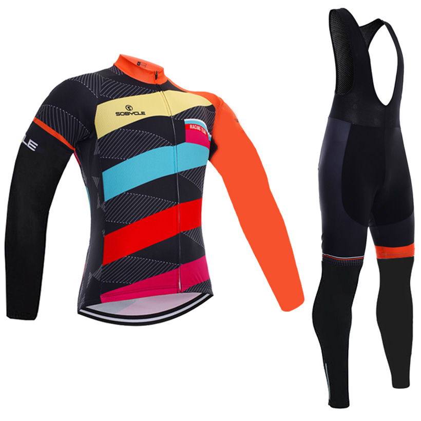 2017 Brand sobycle Winter cycling jersey long fleece thermal ropa ciclismo invierno bicycle mtb cycling wear bibs pants set<br>