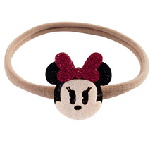 Elastic Nylon Headband With Cute Minnie Accessories For Girls Kid Glitter Bow Hair Band Headwear