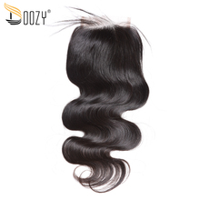 Doozy body wave Brazilian virgin hair free part natural color human hair lace closure(China)