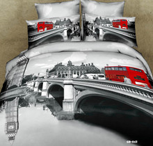New Arrival 100% Cotton 7 Pcs Home Bedding Sets 3d Print London Bridge And Bus Duvet Cover Set Bed Sheets Queen Super King Size