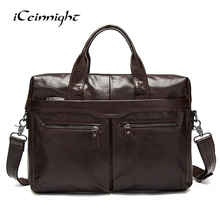 iCeinnight Business Real Genuine Leather Briefcase Men's Bag Casual Vintage Crossbody Messenger Laptop Hand Bag Men Travel Bags