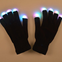 20pcs=10pairs LED Gloves Toys Rave Light Finger Lighting Glove Glow Mittens Black Cotton Night Party Use Toy