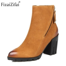 Women Real Leather Boots Winter Ankle Boots Ladies Sexy High Heel Fashion Pointed Toe Zipper Riding Boots Women Shoes Size 34-39
