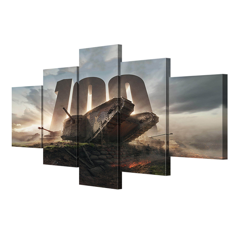 HDARTISAN-5-Pieces-Firing-Tank-Canvas-Art-Wall-Pictures-For-Living-Room-Game-Painting-Home-Decor