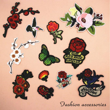 1pcs flower bird Butterfly patches Iron On Patch Embroidered Applique Patch Clothes Stickers DIY Apparel Accessories
