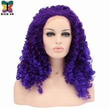 HAIR SW Long Deep Wave Synthetic Lace Front Wig Purple Highlight Blue Color Mixed Free Part Heat Resistant For Darg Queen Women(China)