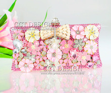 luxury women handmade rhinestone flowers cell phone clutch party dinner bags pink crystal wedding dress evening bags