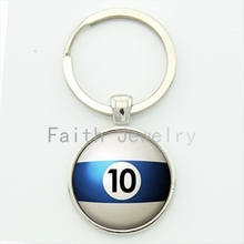 Number 10 Pool key chain Table Tennis sports Billiard Ball 10 keychain trending men jewelry handmade gift for best man KC470(China)