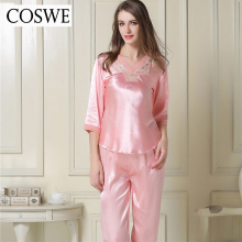 COSWE Plus Size Pajamas Woman Pink White Silk Satin Pajamas Suit Pijama For Women Homewear Women's Pyjamas Set Home Clothing XXL