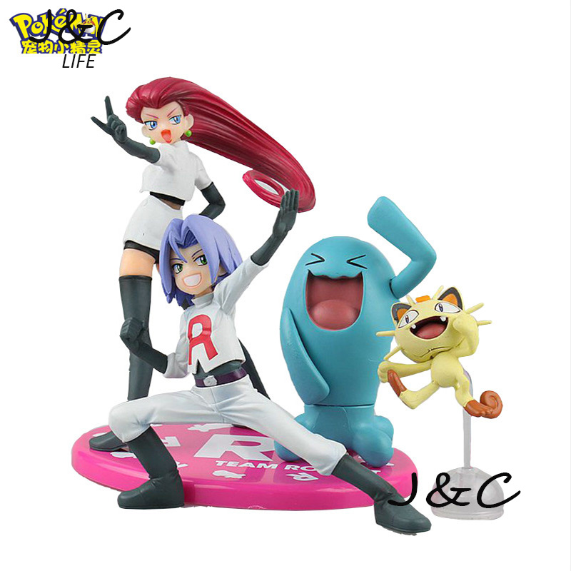 Action Figure Toy Nendoroid Ash Ketchum kojiro Meowth jesse Wobbuffet Action Figure Red Anime Collectible Model<br><br>Aliexpress