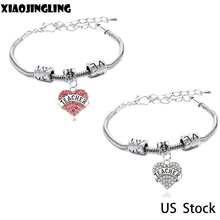 XIAOJINGLING Trendy Crystal Bracelet For Teacher Lobster Chain Love Beads Bracelet Pink Heart Charms Pendant Wristband Jewelry(China)