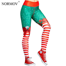 Buy NORMOV Fashion Bow Print Christmas Leggings Women High Waist 3D Digital Print Legging Push Workout Leggings S-XL for $10.58 in AliExpress store