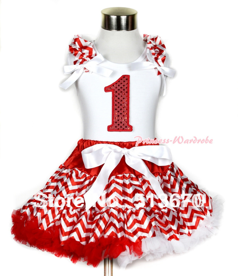 Xmas White Tank Top 1st Sparkle Red Birthday Number Print Red White Wave Ruffles  White Bow  Red White Wave Pettiskirt MAMG746<br>