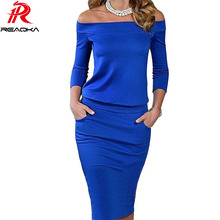 2017 New Style Summer Dress Three Quarter Sleeve Slash Neck Womens Sexy Fashion Dresses Casual Party Night Blue Black Club Dress