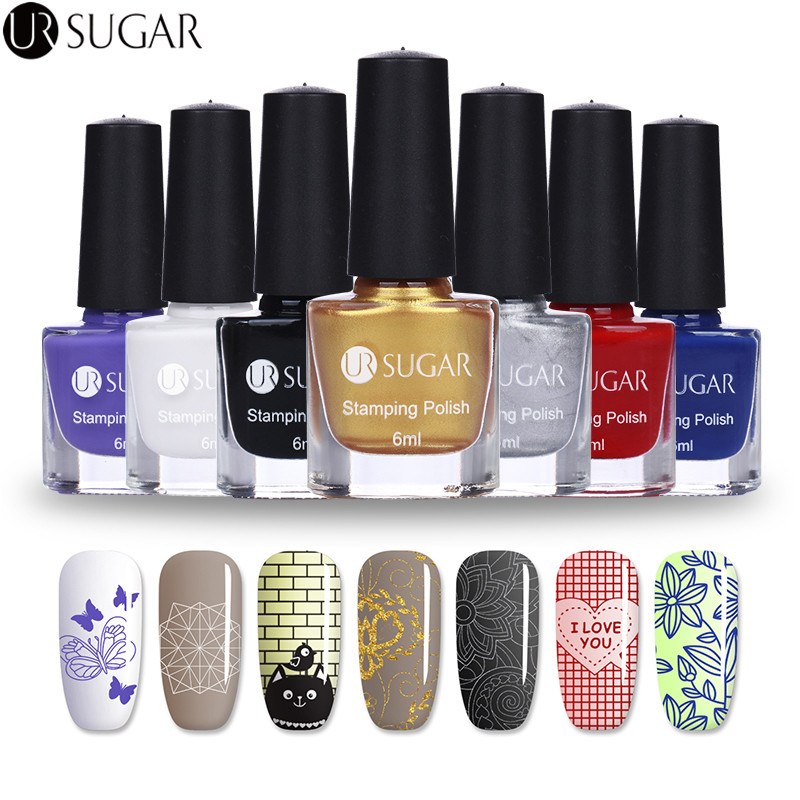 UR SUGAR 6ml Nail Stamping Polish Colorful Nail Art Stamp Plate Printing Polish Candy Colors Varnish Lacquer Stamp Polish DIY