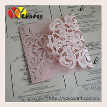 China handmade wedding and party decoration luxury laser cut invitation card design with low price