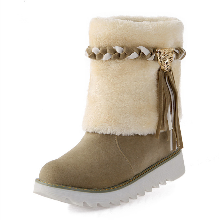 New Arrival Winter Snow Boots Women Shoes 2017 Brand Platform Round Toe Female Thermal Fur Tassel Boots Plus Size 34-43<br><br>Aliexpress