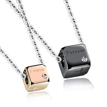 Lovers' Promise Pendant Necklaces Romantic Stainless Steel Square Design FOREVER Women Men Jewelry Necklaces GX1064(China)