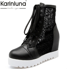 KARINLUNA Big Size 34-43 High Heels Lady Shoes Lace Upper Round Toe Leisure Woman Summer Boots Platform Black Beige White