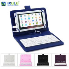"iRULU 2017 RUSSIAN KEYBOARD Leather For 7""Tablet PC Using Russian Language Micro USB Keyboard Case New High Quality Hot"