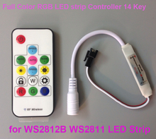 SP103E Wireless RF Digital Full Color RGB LED strip Controller 14 key DC 12V for WS2812B WS2811 led STRIP Christmas wholesale(China)