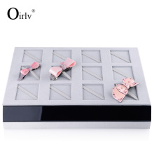 Oirlv Free Shipping Fashion Hairpin Display Tray Grey Velvet Acylic Board Hair Accessory Exihibitor Tray Shop Organizer Stand
