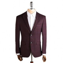 2017 New arrival high quality Single breasted Classic lattice red Blazer men Casual jacket Men Slim Blazer jackets Size M-4XL.
