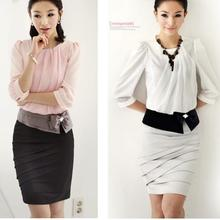 lady office dress lady's summer chiffon dress women's work uniforms OL dress top +dress(China)