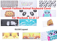 HRH ESP Silicone Spanish Animal Decal Keyboard Cover Protector For Macbook Air Pro 13 15 17 Protector for Macbook keyboard SpanI