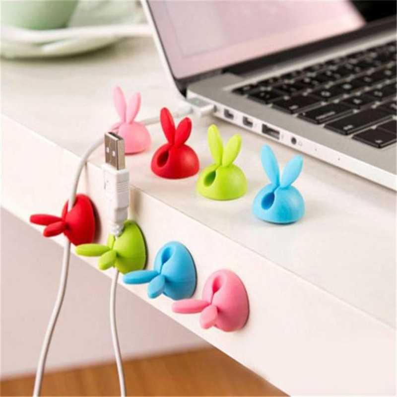 New Creative  6 x Cable Clip Desk Tidy Wire Drop Lead USB Charger Cord Holder Secure Table Wear-resistant hot sale Easy UseC022808