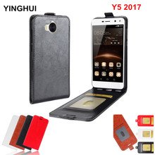 Luxury Vertical Flip Case Cover for Huawei Y5 2017 Coque Funda Phone Cases PU Leather Case for Huawei Y5 2017 Phone Bag Case(China)