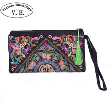 Vintage Embroidery Women Clutch Bag Retro National Trend Bag Women Wallet Double Faced Embroidered Coin Purse Clutch Handbag(China)
