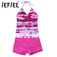 2017 Children Kid Girls Heart Print Swimsuit Halter Tankini Set Children Clothes Outfits for Summer Swimming Surfing and Holiday(China)