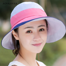 AOVKOVSA Anti UV Fashion Color Matching Empty Hat Cloth Summer Foldable Costume Women Sun Hat