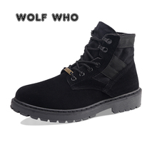 WOLF 누가 새 Autumn Winter Men Boots Canvas Ankle Boots 남성 (High) 저 (-컷 casual Shoes Anti-반대로 미끄러짐의 신발쏙 ~ zapatos 험 브레와 W-036(China)