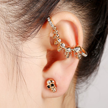 New Design Crystal Cuff Earrings Brincos Double Side Earrings For Women Ear Skull Hiphop Steampunk Cool Cuff Earrings 2017(China)