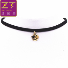 Hot New Torques Bijoux Plain Black Velvet Ribbon Moon And Stars Necklace Pendant Maxi Statement Chokers Necklace For Women 2016