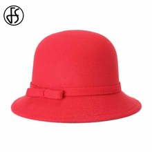 FS New Winter Bowler Fedora Hat For Woman Elegant Bowknot Wide Brim Red Bucket Hat Chapeu Feminino Cloche Cap Cappello Rose(China)