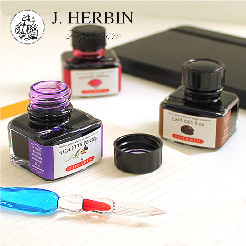 Freeshipping France J.HERBIN D series ink non carbon No blocking pen Smooth writing Color dye ink<br>