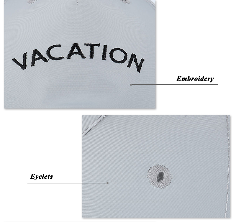 "Embroidered ""Vacation"" Baseball Cap - Embroidery and Eyelet Detail Views"