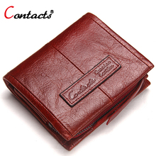 CONTACT'S Genuine Leather Women Wallet Female Purse Men Wallet Red Leather Wallet Small Credit Card Holder Coin pocket Short