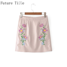 Buy Future Time PU Leather Skirts Embroidery Flower A-Line Skirt Women 2017 High Waist Floral Skirt Zipper Short Mini Skirt BS021 for $13.10 in AliExpress store