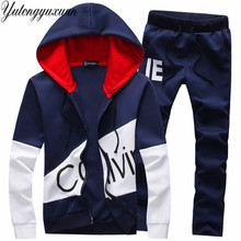Chelsea Real Letter Printed Men 2 Piece Sets Zipper Hoodies + Pants Tracksuits 2017 New Casual Suits Male Grey Navy(China)